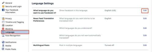 Facebook language setup